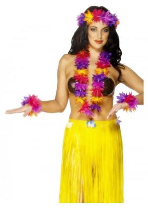 Womens Licensed Hawaiian 4 Piece Garland Set Tropical Hula Luau Grass Dancer Headband Garland and Wristband Beach Lei Hula Girl Party Flower Fancy Dress Costume