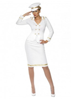 Sailor Costumes - Smiffys Licensed Womens Officer's Mate Sailor Captain Navy Fancy Dress Costume Pilot Outfitit