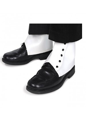WHITE Mens 1920s 20s SPATS with Black Buttons Accessories