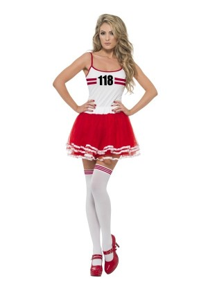Ladies Red & white Marathon Woman Instant Costume