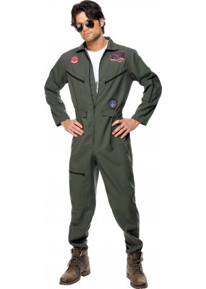 Retro Men Aviator Pilot Costume Top Gun 1980s 80s Military Costume Green Dress Licensed