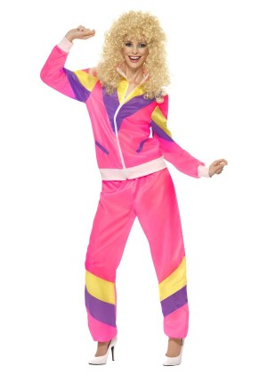 80s Height Of Fashion Pink Shell Suit Tracksuit 1980s Womens Ladies Fancy Dress Costume