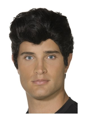 Black Danny Grease 50s Rocker Rock and Rol T-Bird Mens Greaser Wigs