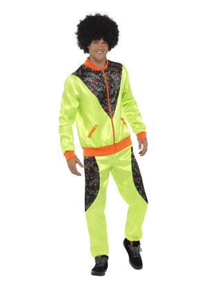 Mens Retro Shell Suit 80s Metallic Scouser Tracksuit 1980 Fancy Dress Costume