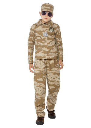 Kids Boys Desert Army Officer Costume Childs Soldier Military Commando Fancy Dress Uniform Book Week