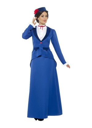 Victorian Nanny Costume, Blue with Jacket Ladies