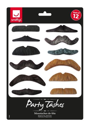 Party Tashes 12 Pack Costume Accessory cs99062