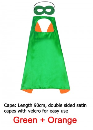 Green & Orange Kids Double sided Cape Mask Costume set tt1098-15