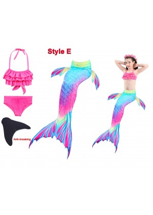 Kids Mermaid tails Swimsuit Costume with Monofin