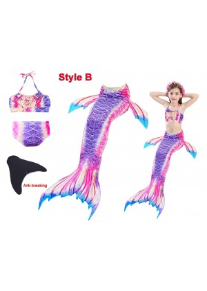 Kids Mermaid Tail Monofin Swimsuit Costume