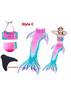 Kids Mermaid Tail Swimsuit Costume with Monofin