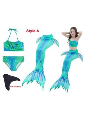 Kids Mermaid Tail With Monofin Bikini Swimsuit Costume tt2024-9