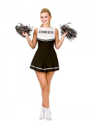Black Ladies Cheerleader School Girl Uniform Fancy Dress Costume