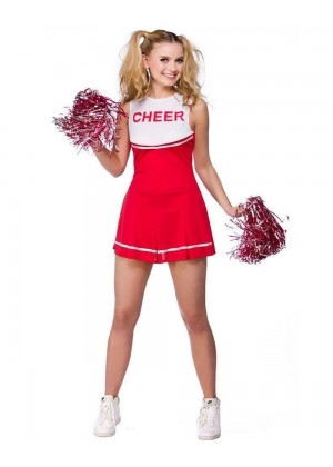 Red Ladies Cheerleader School Girl Uniform Fancy Dress Costume