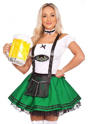 Oktoberfest Beer Maid Costume Green lg204green