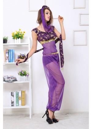 Arabian Genie Aladdin Fancy Dress Up Costume Outfit Purple