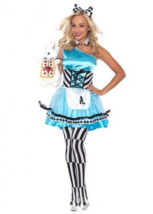 Alice In Wonderland Costumes - Alice in Wonderland Ladies Disney Fairytale Halloween Fancy Dress Adult Costume