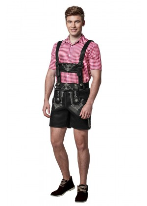 Mens Lederhosen Oktoberfest German Fancy Dress Costume PU Leather