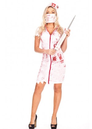 Ladies Halloween Bloody Zombie Nurse Dress Costume