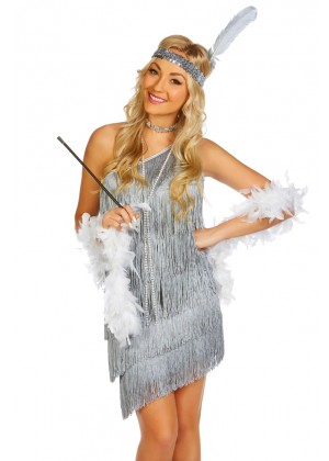 Ladies 20s 1920s Charleston Flapper Grey Costume
