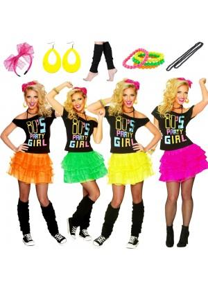 Ladies 80s Party Girl T-shirt Skirt Costume full set lh181lh186