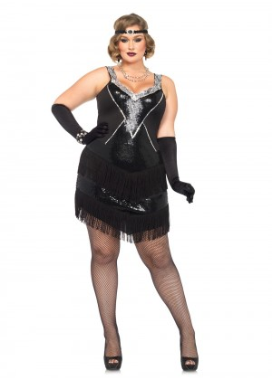 Ladies 20s Flapper Sequin Costume Gangster  lh192a