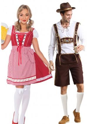 Couple Oktoberfest Wench Beer German Lederhosen Costume
