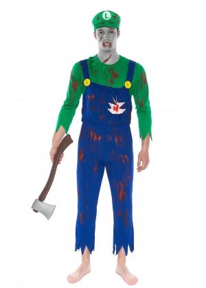 Mens Super Mario Luigi Zombie Bloody Halloween Horror Fancy Dress Costume + hat