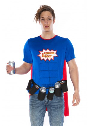 Oktoberfest Costumes Australia - Adult Oktoberfest Super Six-Pack Beer Man Hero Superhero Halloween Fancy Dress Costume