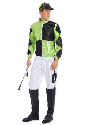 Full Set Green Black Jockey Horse Racing Rider Mens Uniform Fancy Dress Costume Outfit Hat