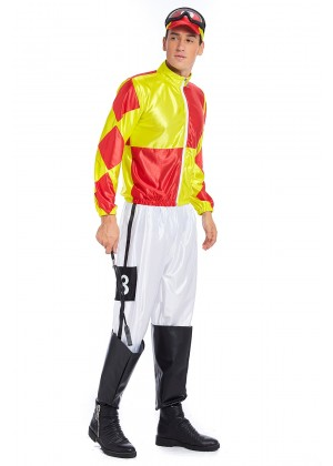 Full Set Red Yellow Jockey Horse Racing Rider Mens Uniform Fancy Dress Costume Outfit Hat