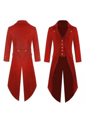 Red STEAMPUNK TAILCOAT JACKET Magician