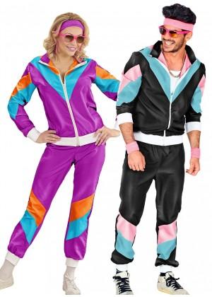 Couple 80s Shell Suit Black Purple Tracksuit Costume lh237bklh342p