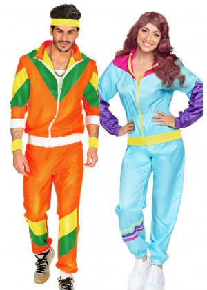 Couple 80s Shell Suit Blue Orange Tracksuit Costume lh237olh342blue