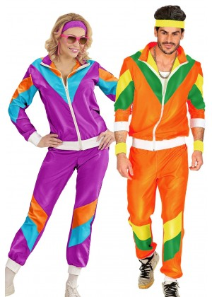 Couple 80s Shell Suit Purple Orange Tracksuit Costume lh237olh342p