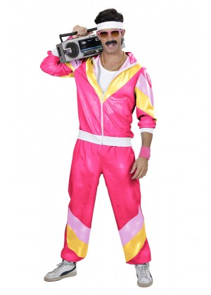Mens 80s Tracksuit Suit Costume hot pink front