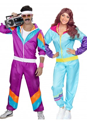 Couple 80s Shell Suit Blue Purple Tracksuit Costume lh237plh342blue