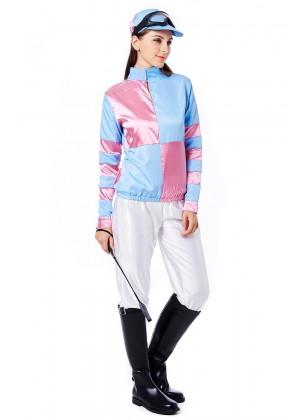 Womans Jockey Horse Racing Rider Ladies Uniform Fancy Dress Costume Outfit Hat Set