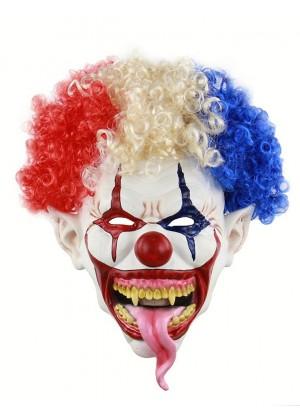 Adult Scary Evil Halloween Mask Latex Foam Clown with Hair