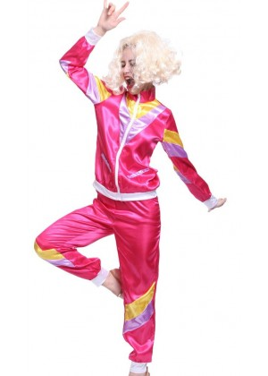 Pink 80s Retro Tracksuit Height Of Fashion Costume ln1002