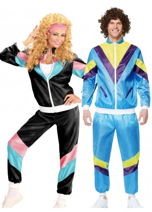 Couple 80s Shell Suit Black Blue Tracksuit Costume