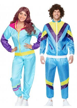 Couple 80s Shell Suit Blue Tracksuit Costume ln1003lh342blue