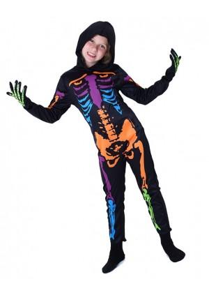 Kids Halloween Skeleton Scary Fancy Dress Costume