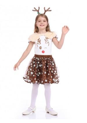 Cute Reindeer Christmas Kids Girls Costume