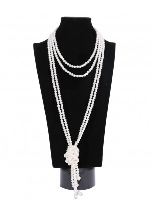 1920s 20 Art Deco Fashion Faux Pearls Flapper Beads Cluster Long Pearl Necklace