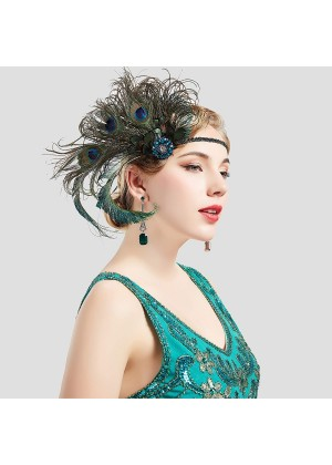 1920s Headband Green Feather Flapper Headpiece ladies