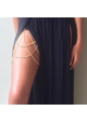 Ladies Rhinestone Leg Chain gold lx0219