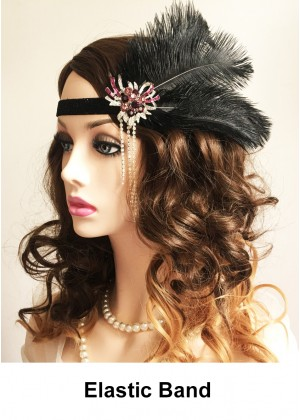 Ladies Black Great Gatsby Flapper Headpiece lx0252