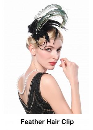 Ladies 20s Black Gatsby Feather Hair Clip  lx0256
