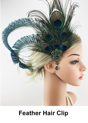 Ladies 1920s Green Peacock Feather Hair Clip lx0258